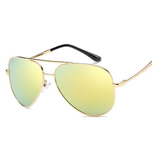 Easy Go Shopping Trend polarisierten Sonnenbrillen Männer Frauen Retro-Mode Sonnenbrillen Sonnenbrillen Fahren Sonnenbrillen und Flacher Spiegel (Color : Gold, Size : Kostenlos)