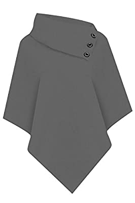 Vanilla Inc® Ladies Asymmetric Roll Folded Neck Loose Celebrity 3 Button Poncho TOP Cape Shawl Wrap Sweater Jumper Cardigan 8-14