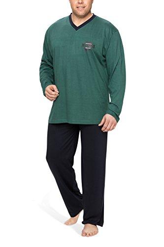 Moonline Plus - Schlafanzug Herren übergroß aus Baumwolle, langer Pyjama für Männer (zweiteilig, in großen Größen), Farbe:petrol, Größe:64