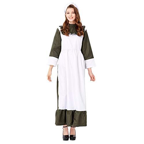Mittelalterliche Frauen Kleid,Jessboy Cosplay Zweiteiliges Set Farm Maid Maid Chef Kleid dunkelgrün Koch Farm Farm Manor Bühnenkostüm Kleid Hut zweiteilig -