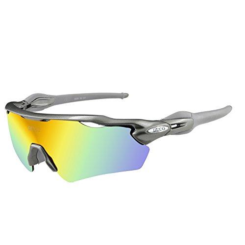 Duco occhiali da sole polarized sports mens per golf da guida da sci ciclismo superlight con 5 lenti intercambiabili