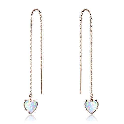 Herz Ohrringe für Damen Opal einfädler Sterling Silber Ohrstecker Opal Ohrstecker für Mädchen Katze Schmuck für Frauen Silber Katze Silber Ohrringe