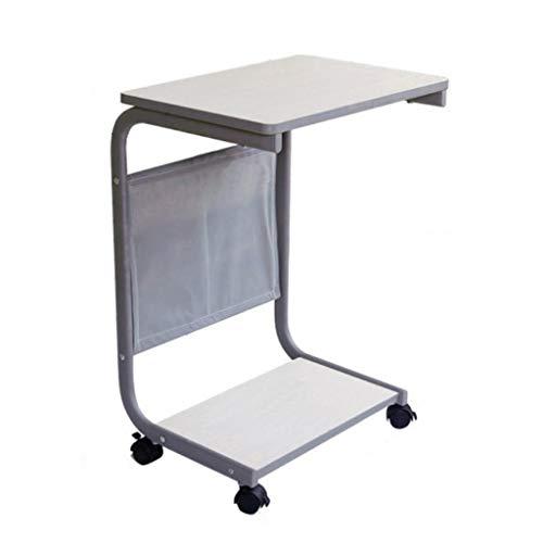 Side table-Q QFF-Computertisch Beweglicher Tisch, mit Roller Land Typ Nachttisch Wohnzimmer Schlafzimmer Sofa Beistelltisch Laptop Tisch Einfacher Schreibtisch Bürotisch Schreibtisch - Land Schlafzimmer Möbel