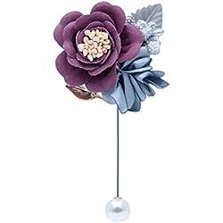 Nowbetter - Broche para Mujer, Elegante, diseño de Camelia con Flores, broches para el Cuello, para Boda, Fiesta, Novia, Lazo, Corbata de Boutonniere, Morado, 10 * 6CM