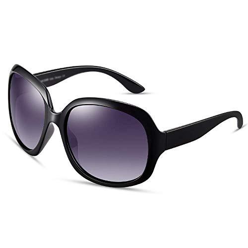 ZTMN Sonnenbrillen Sonnenbrillen - Polarisiert, UV-beständig, retro-elegant, klassischer, großer Rahmen, Shopping und Fahren in weiblicher Mode, insgesamt 5 Farben zur Auswahl (Farbe: Bright Blac