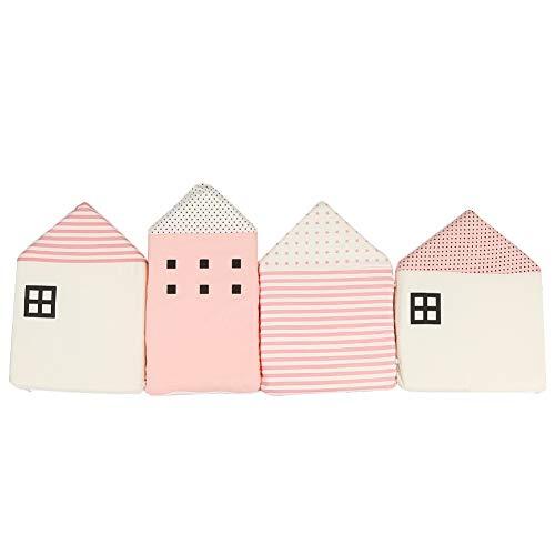 Krippe Beschützer Sicherheit Schiene Beschützer Rand Kinderbett Beschützer Baumwolle Stoßfänger(Rosa)