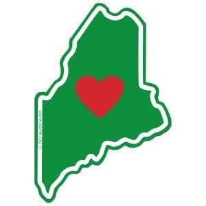 Heart in Maine Sticker Apply to Mug Phone Laptop Water Bottle Decal Cooler Bumper Portland 207 Lobster LL Bean wicked Appalachian Trail Augusta Arcadia Flag Pine State ME State Shaped Label
