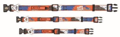 X-TRM collier, L-XL: 48-66 cm/25 mm,orange/bleu Chien - entièrement réglable