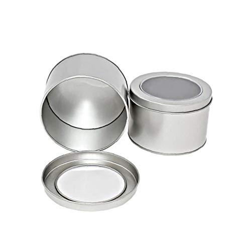 Die Container Jar 1pc Kleine runde Silber Aluminium Lip Balm Tin Lagerung mit Schraubverschluss Lippenbalsam kosmetische Kerzen oder Tee (Silber) -
