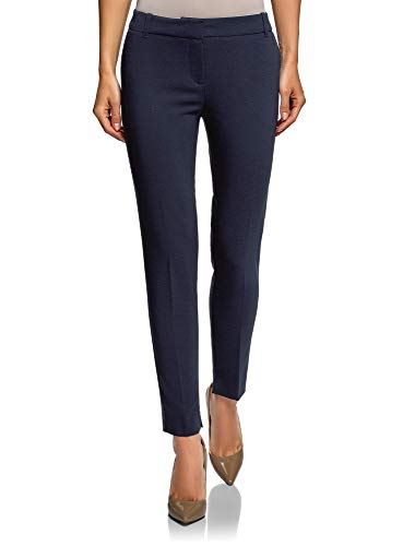 oodji Collection Damen Hose Basic mit Bügelfalten, Blau, DE 42 / EU 44 / XL