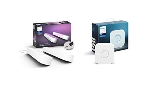 Oferta de Philips Play Barra Regulable, Compatible con Apple HomeKit y Google Home, luz Blanca y de Colores, Blanco + Hue - Puente de conexión controlable vía WiFi