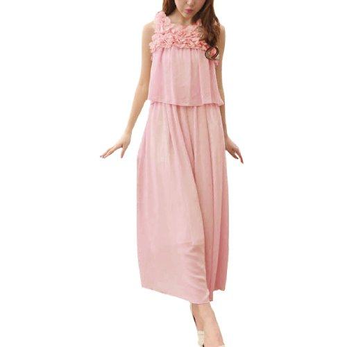 Damen Abendkleid Blumen Design Chiffon Plastikperlen Volle Länge Rosa