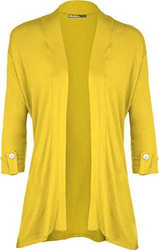 WearAll - Damen Übergröße Kurzarm knopf offen Cardigan Top - Gelb - 48