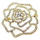 METTU Women Gold Plated Hollow Crystal Rose Flower Brooch Pins for Mother's Day (gold)
