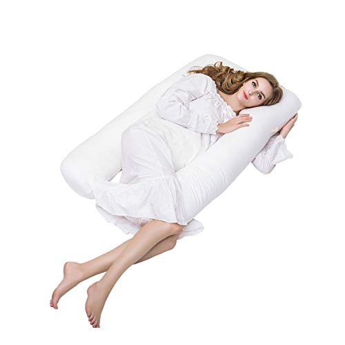 Oreiller de maternité, OUTAD coussin de grossesse a la forme d'un U et par sa fermeture éclaire, est détachable - Le prouduit de coton soutient complétement le corpsétement le corps (114cm x 51cm)