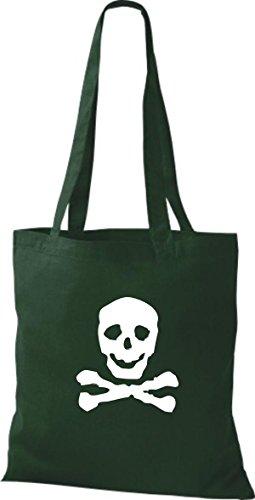ShirtInStyle Stoffbeutel Skull Totenkopf Schädel diverse Farbe bottle green