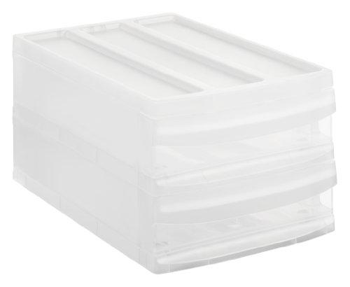 Rotho Schubladenbox mit 2 Schüben Systemix aus Kunststoff (PP), Ablagefach Grösse M-Duo, 39.5x25.5x20.3 cm, transparentes Ablagesystem, DIN A4 Ablagebox für Schreibtisch, Büro - Hergestellt in der Schweiz, 1145096096