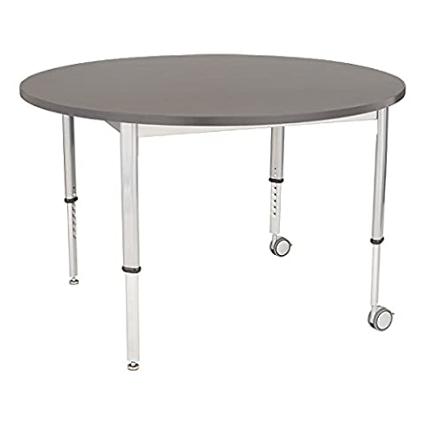 School Outfitters LNT-INM1048RCS-SO Learniture Adjustable-Height Round Planning Table, Cosmic Strandz, 48