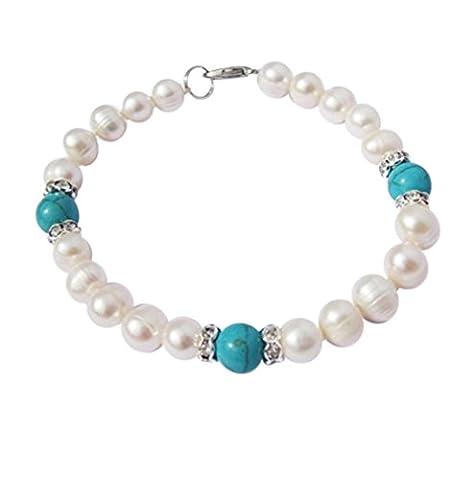 TreasureBay Stunning White Freshwater pearl and Turquoise Beaded women's Bracelet Length: 18.5cm