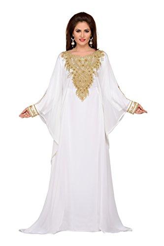 BEDI'S Damen Schlauch Kleid Gr. One size, gebrochenes weiß (Weiße Georgette)