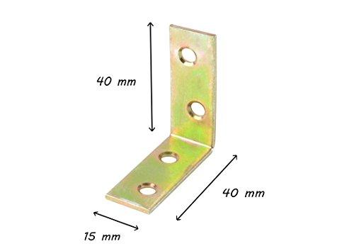 * Stuhlwinkel galvanisch gelb verzinkt | Made in Germany | 40 mm x 40 mm x 15 mm | vier Löcher | Winkelverbinder Metallwinkel (20 Stück)