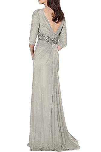 Gorgeous Bride Elegang Lang V-Ausschnitte Halb Ärmel Etui Chiffon Brautmutterkleider Abendkleider Ballkleider Lang Wassermelone
