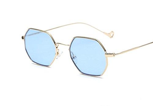XYLUCKY Personalidad Pequeñas gafas de sol Square Street Flat Mirror , h