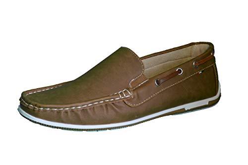 Elifano Footwear Herren Mokassin Bootsschuhe Wildleder Müßiggänger Schuhe Flache Hausschuhe (40 EU, Camel)