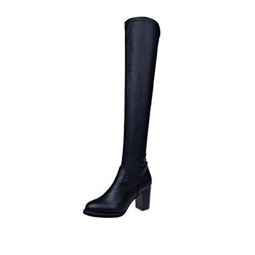 JIANGFU Damen Stovepipe elastische High Heel Stiefel,Mode Leder über Knie Stiefel Frauen Zehen elastische Stretch dicke Ferse Stiefel (37) (Stiefel Ferse Schwarze Niedrigen)