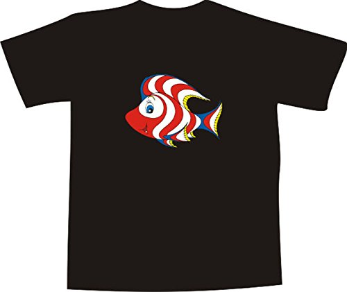 Black Dragon T-Shirt for men and women E244 with multicolored frontprint - fantasy fish (Womens Black Fish)