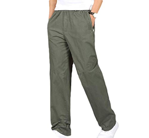 CuteRose Mens Big and Tall Pure Colour Regular Fit Baggy Rip Stop Trouser 3 4XL Carpenter Baggy Jeans