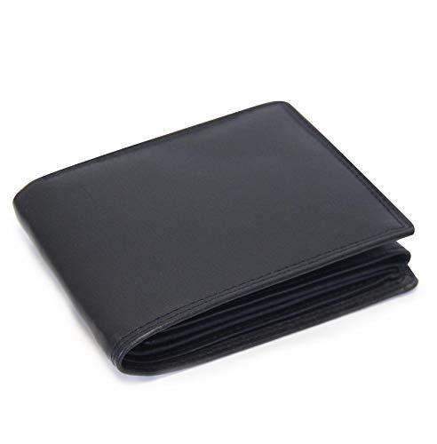 Schlichte Echtleder Geldbörse mit RFID Schutz, 12 Kartenfächern und geräumigem Münzfach im Querformat, Schwarz