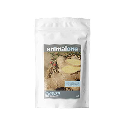animalone - INGWER PUR 1 Kg - für Pferde - entzündungshemmend - antioxidativ (entgiftend) - Muskelschmerz - Rheuma - Verdauungsanregend - Ergänzungsfutter für Das Pferd
