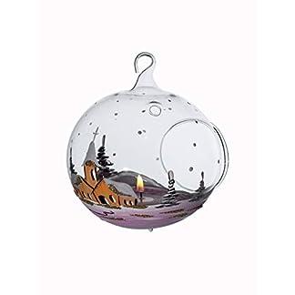 Windlicht-Kugel-Glaskugel-fr-Teelicht-rot-mundgeblasen-mit-Winterlandschaft-handbemalt-Lauscha-10cm