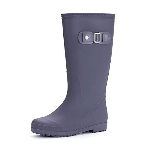 ZJOUJ Regenstiefel- Frauen wasserdichte Gummi einfarbig Regen Stiefel, Mode rutschfeste rutschfeste Arbeitsschuhe Regen Stiefel (Farbe : Gray, größe : 37 yards) (Regen Spiderman Jungen Stiefel)