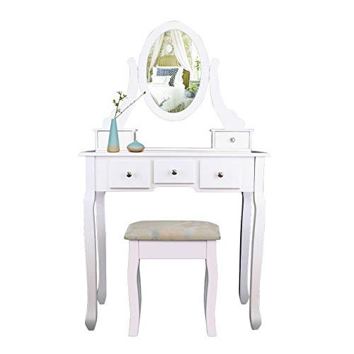 XuanYue Specchiera Tavolo Bianco Vanity Trucco Toeletta 5 Cassetti con Specchio Ovale e Cassetti per Bambine, 1 Specchio + 5 Cassetti + 1 Sgabelli Colore Bianco Makeup Desk Set (Ovale + 5 cassetti)