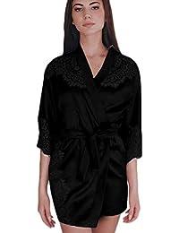 00ae907fe8 TUDUZ Ladies Luxury Silk Kimono Dressing Gown Lightweight Satin Bath Robe  Lace Splice Lingerie Nightdress