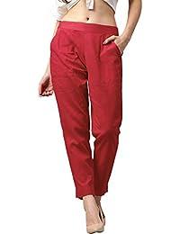 ATARAH Women's Cotton Slub trouser for Casual
