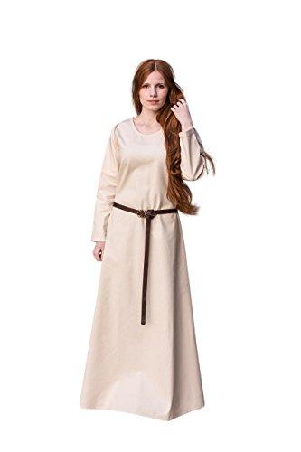 Mittelalter Unterkleid Freya knöchellange mittelalterliche Mode Baumwolle schwere Stoffqualität Natur - L