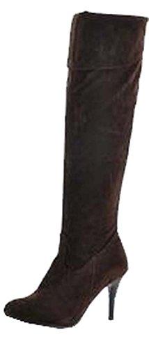Automne hiver bottes Chevalier bottes de genou bottes femmes grande taille de 34,5 à 41,5 brun Nubuck