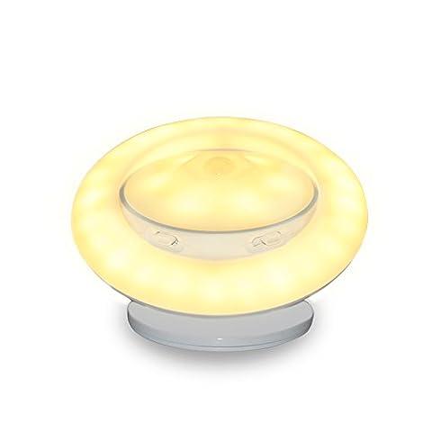 HanDingSM Charm Cool UFO 360°Rotating Body Sensor Night Light Detachable Magnetic Holder Apply to Corridor Bedroom Stairs and Desk lamp (Warm yellow light (Storage model )