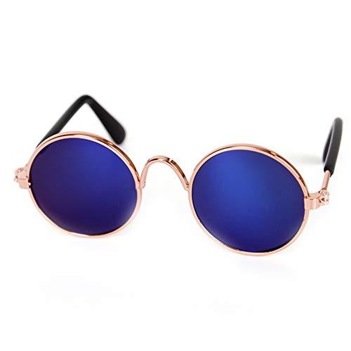 Sungpunet Coole Mode und Spaß Pet Sonnenbrille Classic Retro-runde Metall Prince Sonnenbrille Katze oder Hund Mode Kleidung - Blau Reflective Stil