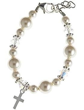 Swarovski weiß & Sterling Silber Kreuz Taufe Armband