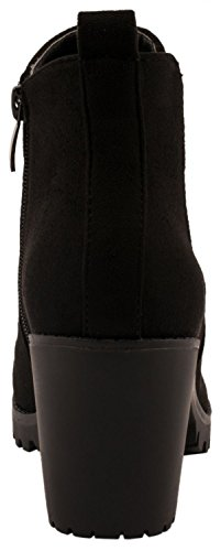 Elara Ankle Boots | Trendig Bequeme Damen Stiefeletten | Plateau Blockabsatz Schwarz