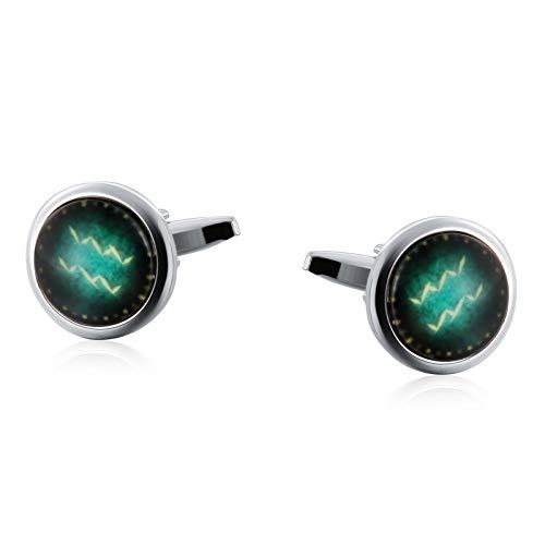 KnSam Gemelos En Caja Gemelos de Piedra Ovalada de constelación Luminosa Gemelos de Acero Inoxidable,Plata Verde (Acuario)