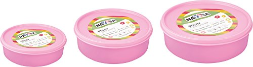 Nayasa Vital Round Plastic Container, 3-Pieces, Pink