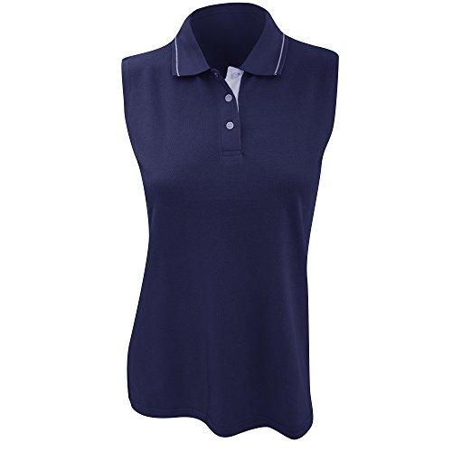 Gamergear® Damen Polo Shirt, Ärmellos (48) (Marineblau/Weiß) - Polo-shirts Frauen