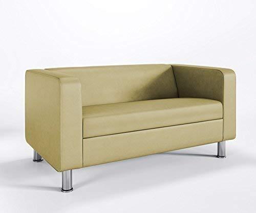 Loungesofa 2-Sitzer CUBBY 4N Cocktailsofa Hotel Bürocouch Kunstleder VALENCIA, Farbe:V6020 - Gold
