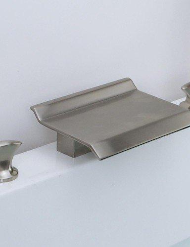 nickel spazzolato tre fori due maniglie diffuso cascata rubinetto del lavandino del (2 Maniglia Diffuso Rubinetto Di Lavabo)