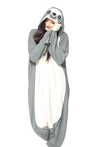 lay Kostüm New Sloth Adult Pyjamas Plüschkostüm Idee/Grau/XL ()